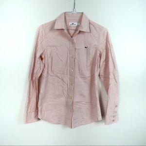 F108 Vineyard Vines Pink Oxford Button Down Size 0